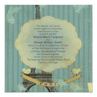 "5.25"" x 5.25 Grunge Retro Paris Wedding Invitation"