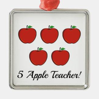 5 Apple Teacher Ornament