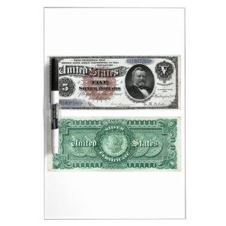 $5 Banknote Silver Certificate Series 1886 Dry Erase Board
