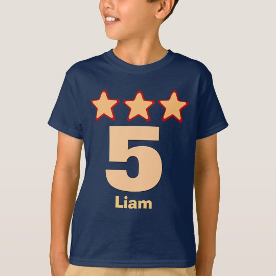 5 Birthday Boy Stars Big Number Custom Name