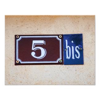 5 bis 55th Birthday for Francophile French Speaker 11 Cm X 14 Cm Invitation Card