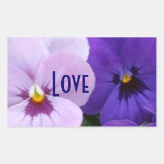 5 Blue Lavender Pansies Rectangular Sticker