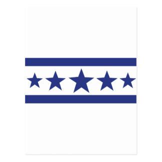 5 blue stars postcard
