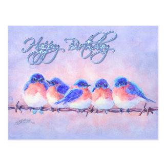 5 BLUEBIRDS on a WIRE  & TEXT by SHARON SHARPE Postcard