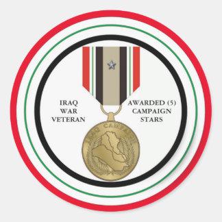 5 CAMPAIGN STARS IRAQ WAR VETERAN ROUND STICKERS