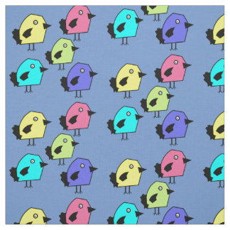 5 Colorful birds vector pattern blue b/g fabric