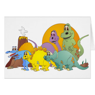 5 Dinosaur Friends Greeting Card