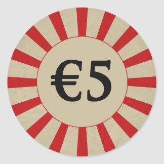 €5 (Euro) Round Glossy Price Tag Round Sticker