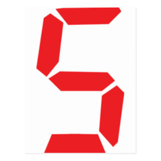 5 five  red alarm clock digital number postcard