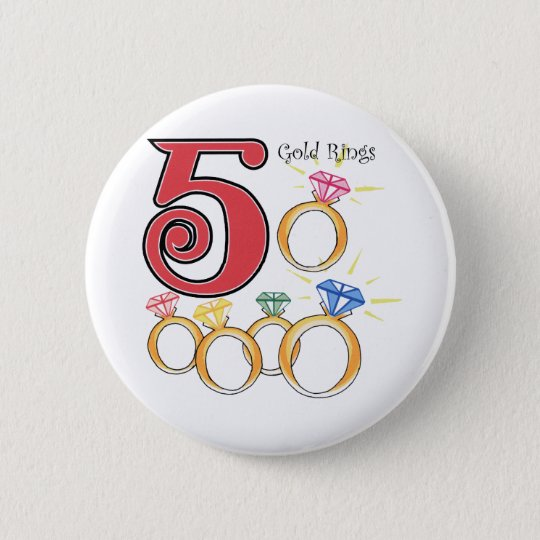 5 Gold Rings 6 Cm Round Badge