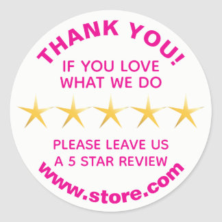 5 Gold Stars Positive Review Classic Round Sticker