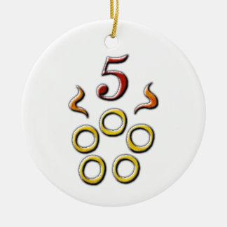5 Golden Rings Christmas Ornament