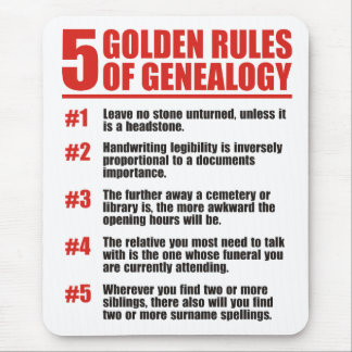 5 Golden Rules Of Genealogy Mouse Mat