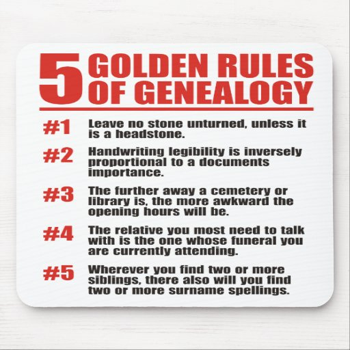 5 Golden Rules Of Genealogy Mouse Pad