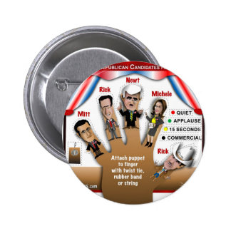 5 GOP Finger Puppets 6 Cm Round Badge
