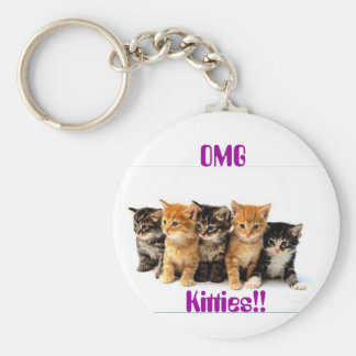 5 Kittens Basic Round Button Key Ring