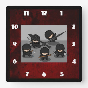 5 Little ninjas posing with weapons Square Wall Clock