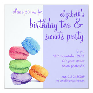 5 Macarons Birthday Invitation