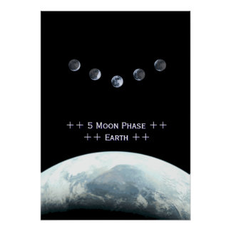 5 Moonphase Earth in Space Poster