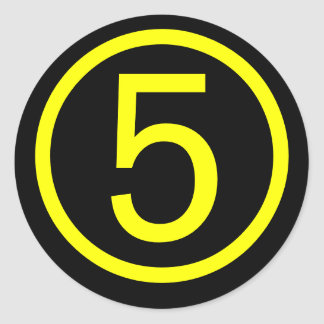 5 - number five classic round sticker