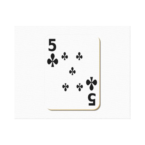 5 of Clubs Playing Card Gallery Wrapped Canvas
