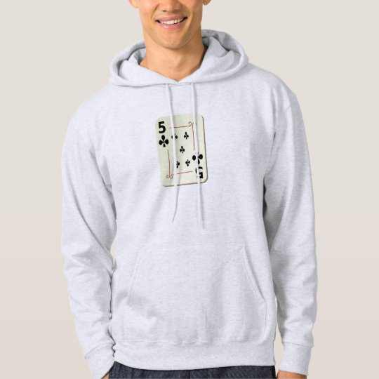 5 of Clubs Playing Card Hoodie