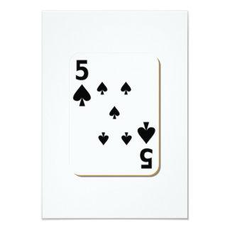 5 of Spades Playing Card 9 Cm X 13 Cm Invitation Card