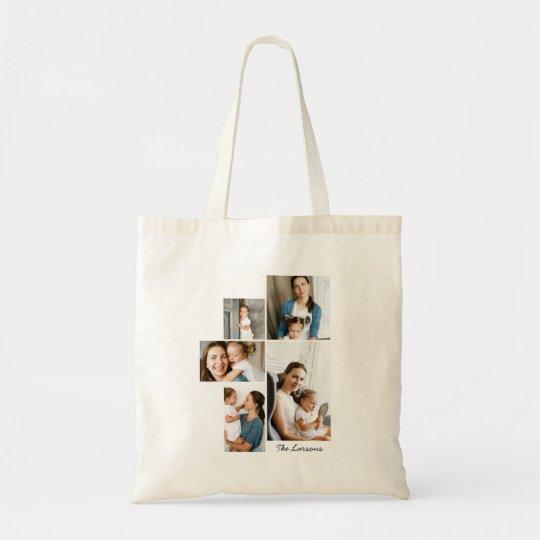 5 Photo Collage Print Tote Bag