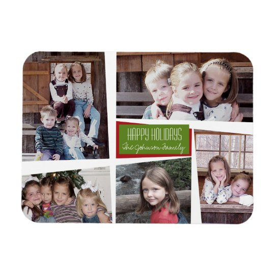 5 Photo Collage Retro Happy Holidays Red Green