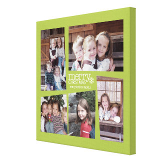5 Photo Holiday Collage - Lime Green Canvas Print
