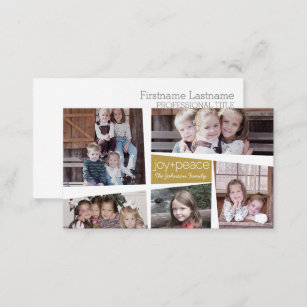 Photo collage business cards zazzle uk 5 photo holiday collage retro joy and peace gold business card colourmoves