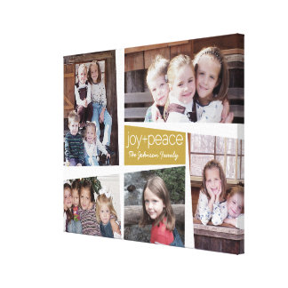 5 Photo Holiday Collage Retro Joy and Peace - Gold Canvas Print