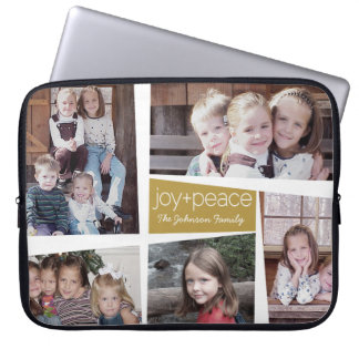 5 Photo Holiday Collage Retro Joy and Peace - Gold Laptop Sleeve