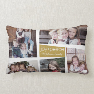 5 Photo Holiday Collage Retro Joy and Peace - Gold Lumbar Cushion