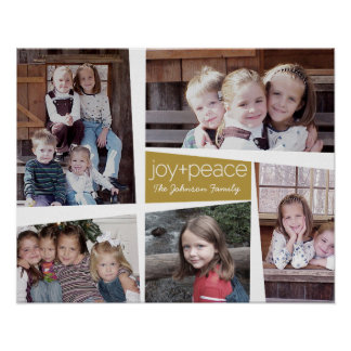 5 Photo Holiday Collage Retro Joy and Peace - Gold Poster