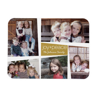 5 Photo Holiday Collage Retro Joy and Peace - Gold Rectangular Photo Magnet