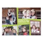 5 Photo Holiday Collage Retro Joy and Peace Green 13 Cm X 18 Cm Invitation Card