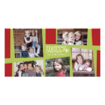 5 Photo Holiday Collage Retro Joy and Peace - Lime Photo Card Template