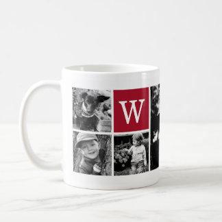 5-Photo Template Personalized Monogram Basic White Mug