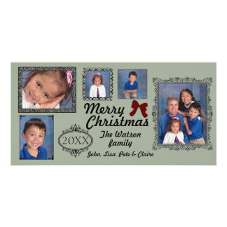 5 Photos Vintage Gray - Christmas Photo Card