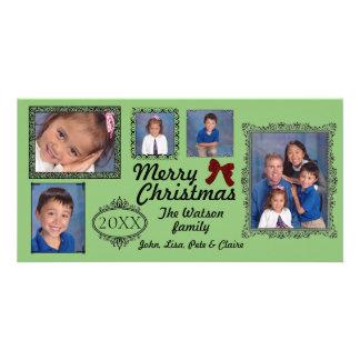 5 Photos Vintage Green - Christmas Photo Card