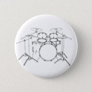 5 Piece Drum Kit: Black & White Drawing: 6 Cm Round Badge