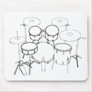 5 Piece Drum Kit: Black & White Drawing: Mouse Pad