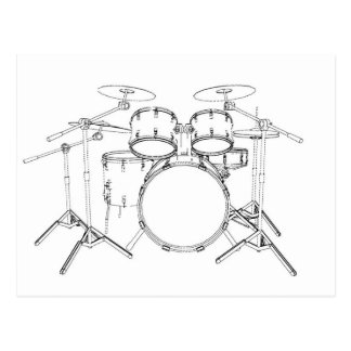 5 Piece Drum Kit: Black & White Drawing: Postcard