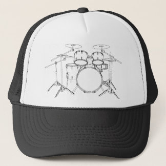5 Piece Drum Kit: Black & White Drawing: Trucker Hat