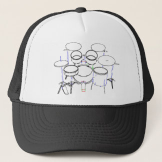5 Piece Drum Kit: Marker Drawing: Trucker Hat