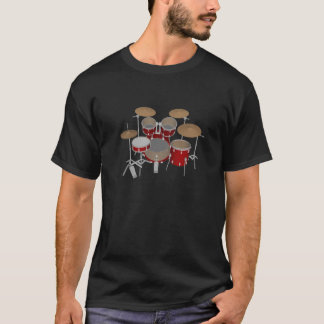 5 Piece Drum Kit - Red - Black T-Shirt: Drums T-Shirt