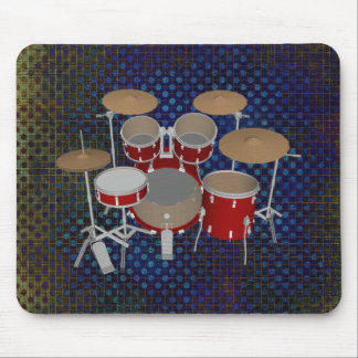 5 Piece Drum Set - Red Drums - Mousepad