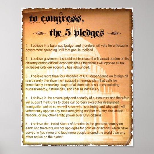 5 Pledges Glenn Beck Poster