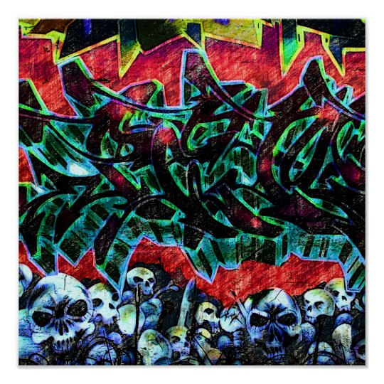 5 Pointz New York Skulls Graffiti Poster